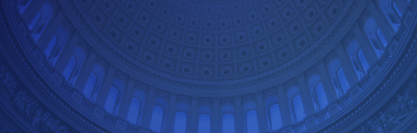 Interior of US Capitol dome with blue overlay.